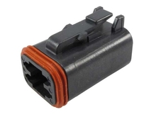 Deutsch DT06-4S-E004W - DT 4WAY BLACK PLUG + WEDGE